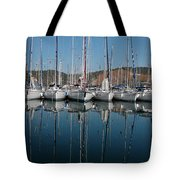 Sailboats Reflected Tote Bag