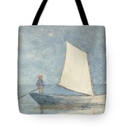 Sailing A Dory Tote Bag by Winslow Homer