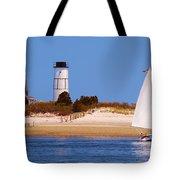 Sailing Around Sandy Neck Lighthouse Tote Bag