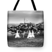 Sailing Boat  Black-and-white Tote Bag