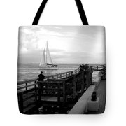 Sailing By The Old Pier Tote Bag