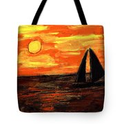 Sailing Home At Sunset Tote Bag