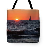 Sailing Into The Sunset Tote Bag by Fran Riley