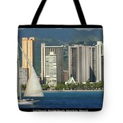 Sailing Off Waikiki Tote Bag