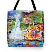 Sailing Past Vernazza Italy Tote Bag
