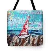 Sailing The Coast Abstract Tote Bag