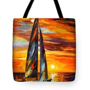 Sailing With The Sun - Palette Knife Oil Painting On Canvas By Leonid Afremov Tote Bag