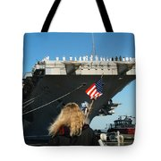 Sailors Aboard Aircraft Carrier Uss Tote Bag