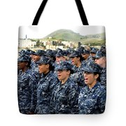Sailors Yell Before An All-hands Call Tote Bag by Stocktrek Images