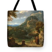 Saint Anthony Of Padua Introducing Two Novices To Friars In A Mountainous Landscape Tote Bag