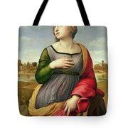 Saint Catherine Of Alexandria Tote Bag by Raphael