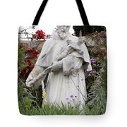 Saint Francis Statue In Carmel Mission Garden Tote Bag