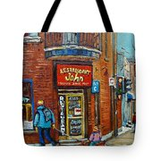 Saint Henri Street In Winter Tote Bag