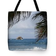 Saint Lucia Palm Tree Small Rock Caribbean Flowing Tote Bag