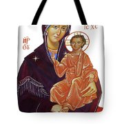 Saint Mary With Baby Jesus Tote Bag