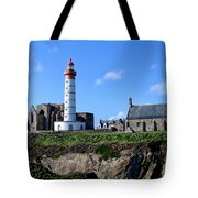 Saint-mathieu Lighthouse And The Ruins Of The Abbey Of Saintlmat Tote Bag