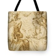 Saint Paul And Saint Stephen Crowned By Angels Tote Bag