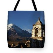 Sajama Volcano And Lagunas Church Belfry Bolivia Tote Bag