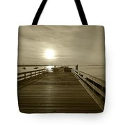 Salem Willows Pier At Sunrise Sepia Tote Bag
