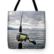 Salmon Fishing Rod Tote Bag by Darcy Michaelchuk