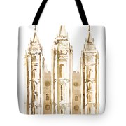Salt Lake City Watercolor Sepia Tote Bag
