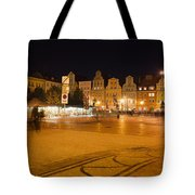 Salt Square In Wroclaw At Night Tote Bag