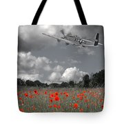 Salute To The Brave - P51 Flying Over Poppy Field Tote Bag