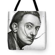 Salvador Dali Portrait Black And White Watercolor Tote Bag