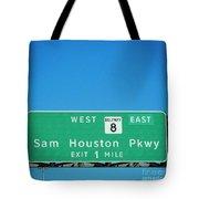 Sam Houston Pkway Tote Bag