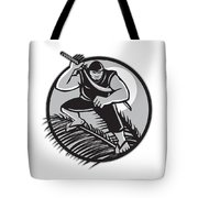 Samoan Ninja On Top Of Coconut Front Circle Tote Bag