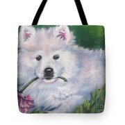Samoyed Pup With Peony Tote Bag