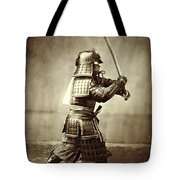 Samurai With Raised Sword Tote Bag by F Beato