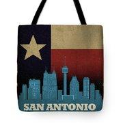San Antonio City Skyline State Flag Of Texas Art Poster Series 022 Tote Bag