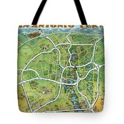 San Antonio Texas Cartoon Map Tote Bag