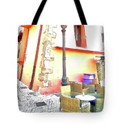 San Felice Circeo Chairs And Street Lamp Tote Bag
