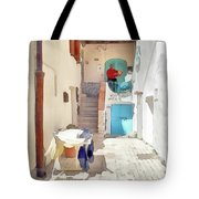 San Felice Circeo Man Puts On Clothes Tote Bag
