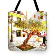 San Felice Circeo Olive Tree In The Square Tote Bag