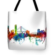 San Francisco And Pittsburgh Skylines Mashup Tote Bag