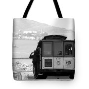 San Francisco Cable Car With Alcatraz Tote Bag by Shane Kelly