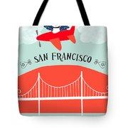 San Francisco California Vertical Scene - Bird In Plane Over San Francisco Tote Bag