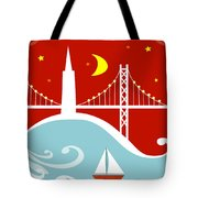San Francisco California Vertical Scene - East Bay Bridge And Boat Tote Bag