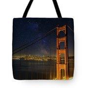 San Francisco City Skyline Through Golden Gate Bridge Tote Bag