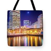 San Francisco Downtown City Skyline At Night Tote Bag