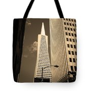 San Francisco - Transamerica Pyramid Sepia Tote Bag