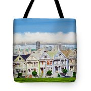 San Francisco's Painted Ladies Tote Bag by Mike Robles