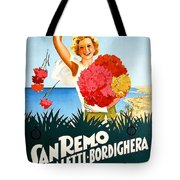 San Remo, Italian Riviera, Girl With Flowers Tote Bag