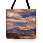 Sand Dunes - Mountains - Snow- Clouds And Shadows Tote Bag