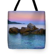 Sand Rocks In The Sea At Sunset Tote Bag