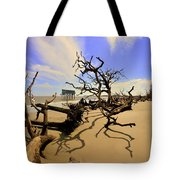 Sand Sun Beach And Little Blue Tote Bag by Lisa Wooten