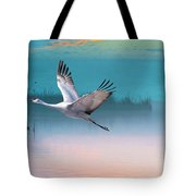 Sandhill Crane And Misty Marshes Tote Bag